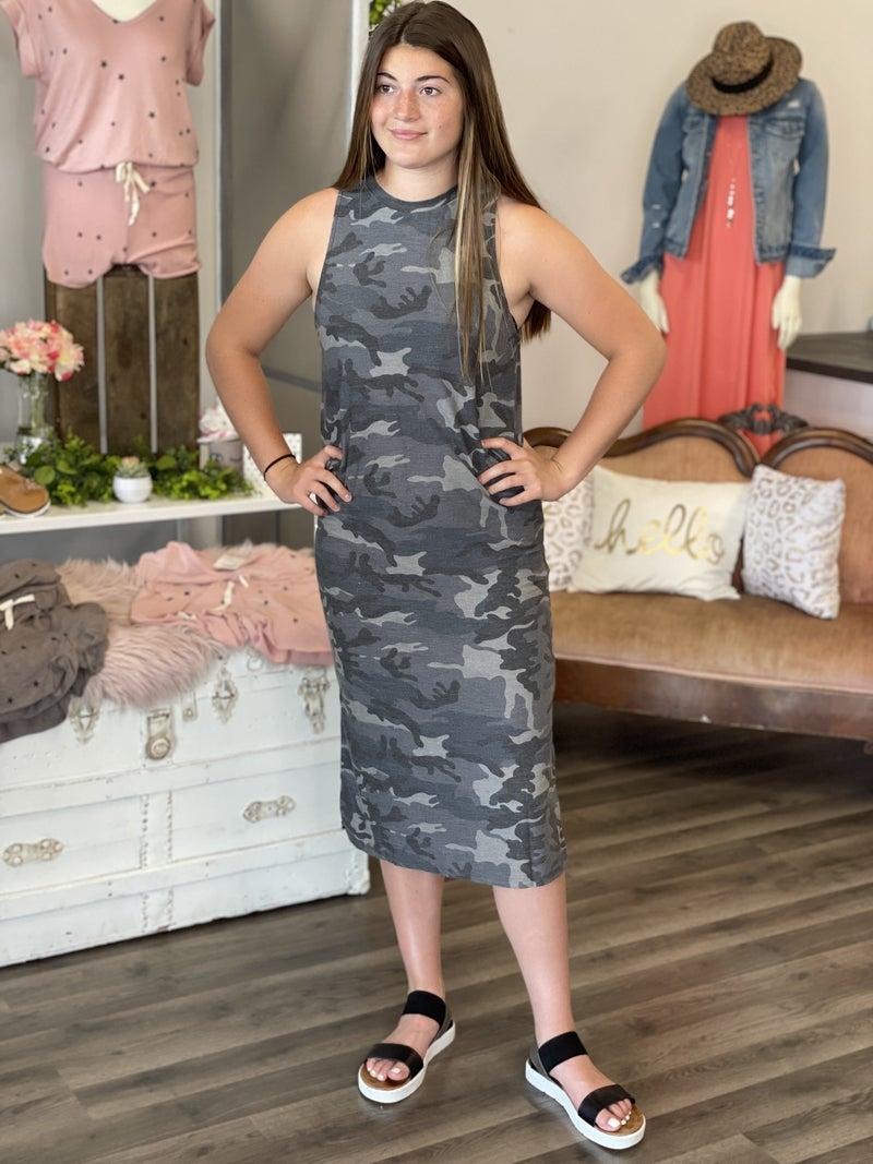 Camo Grey Smoke Maxi Dress