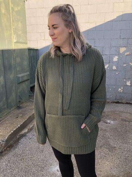 Curvy Snuggle Me Light Olive Hoodie Sweater *Final Sale*