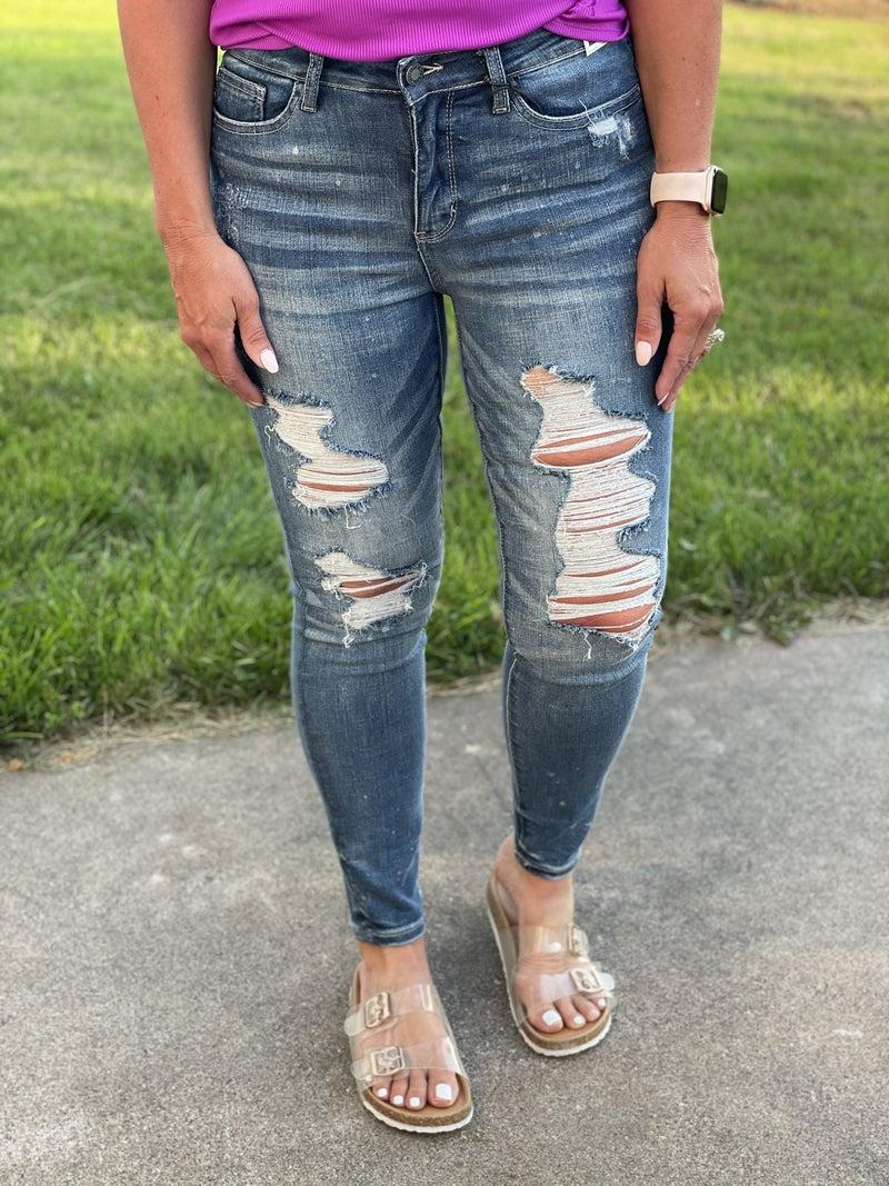 Judy Blue Dedra Bleach Splatter Skinny Jeans 197