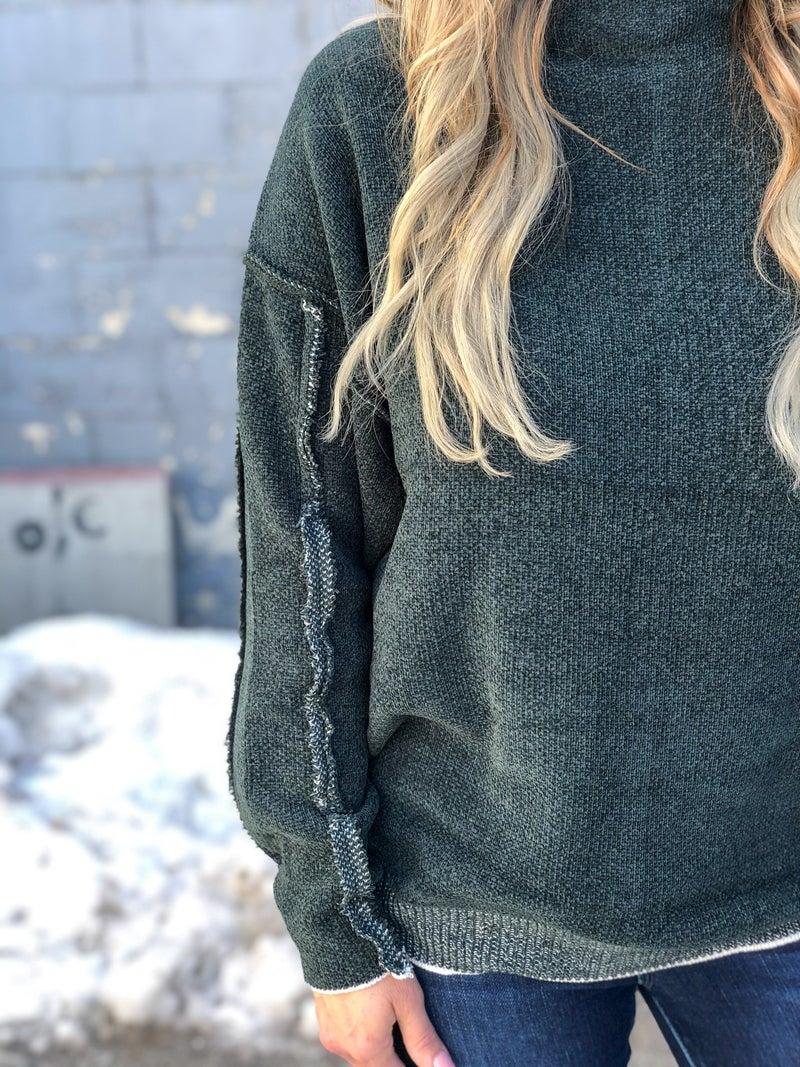 Seamed But Not Heard Green Sweater