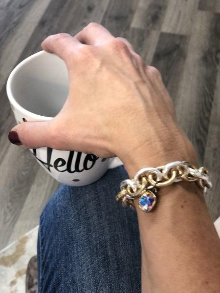Hammered Bling Stretch Bracelet