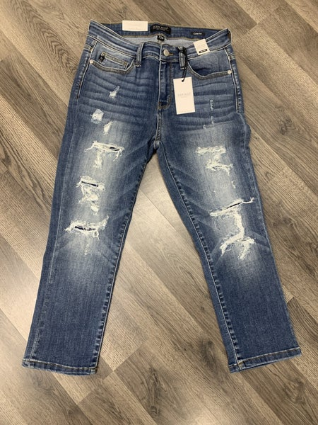 Judy Blue Patched Distressed Capri Jeans 185 *Final Sale*