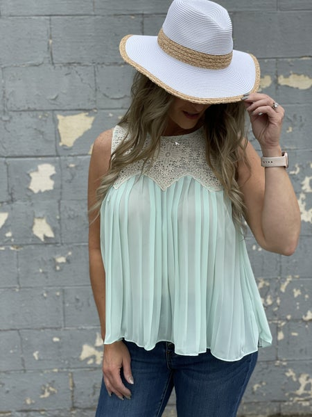 Pleated Happiness Sleeveless Top *Final Sale*