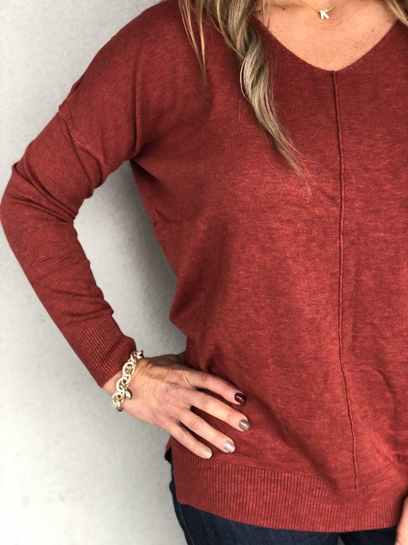 Dreamy V-Neck Heathered Rust Sweater