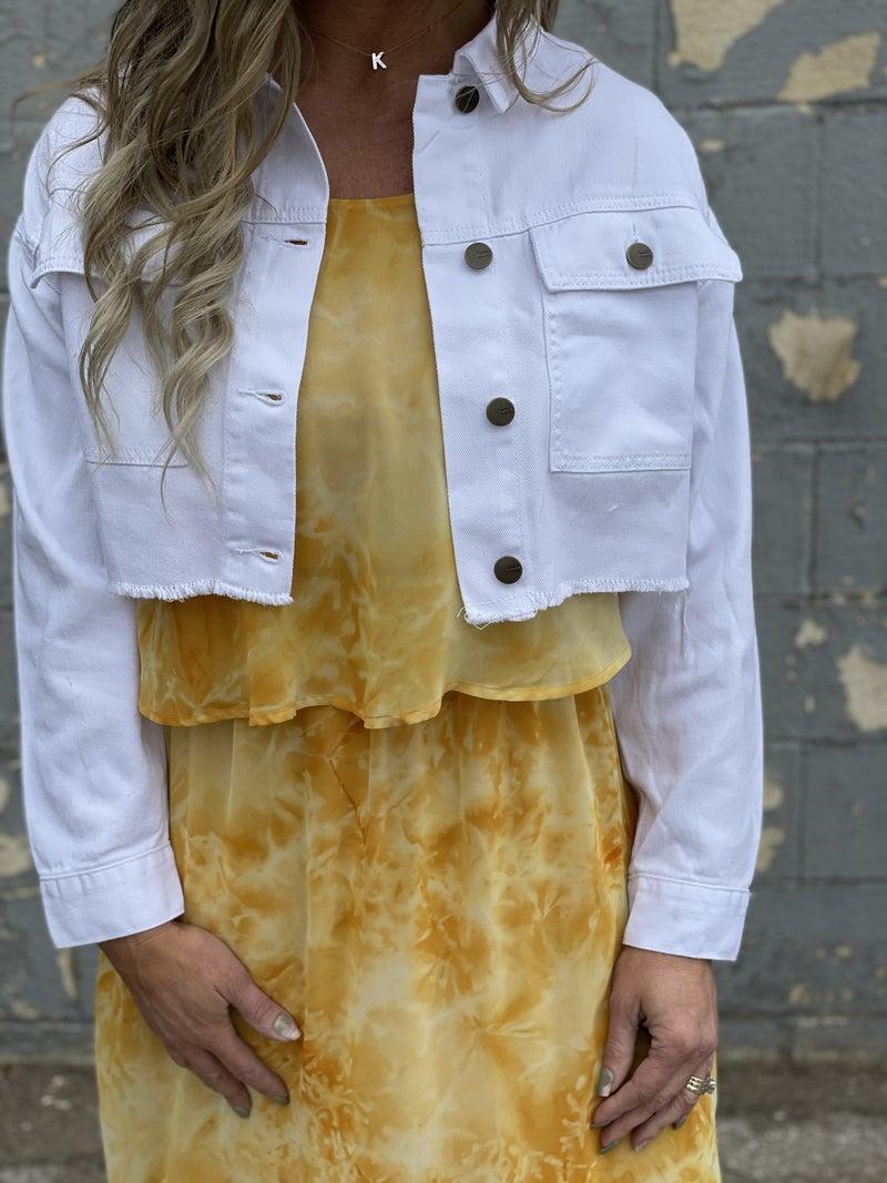 Janie Cropped Raw Hem Denim Jacket