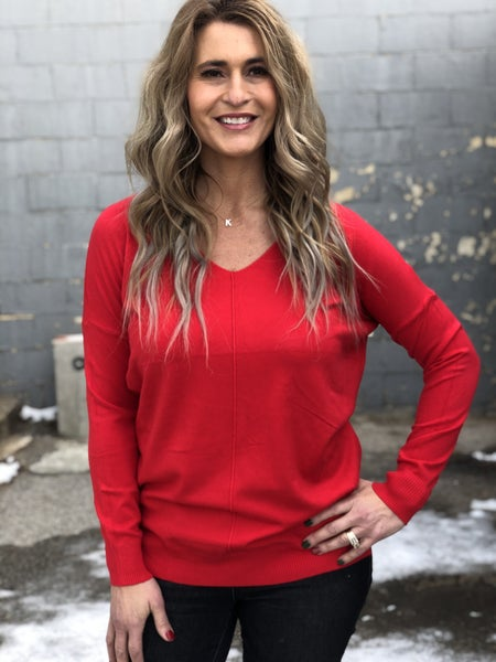 Dreamy V-Neck Red Sweater