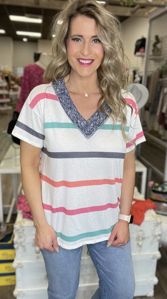 Navy Speck and Stripe Top