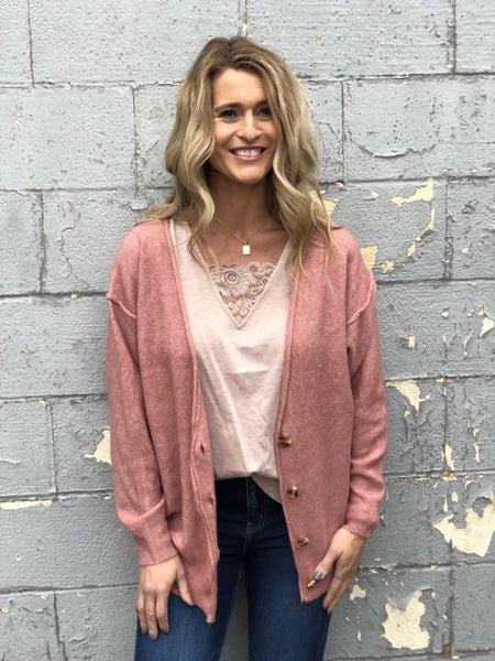 Hampton Oversized Heather Rose Cardigan