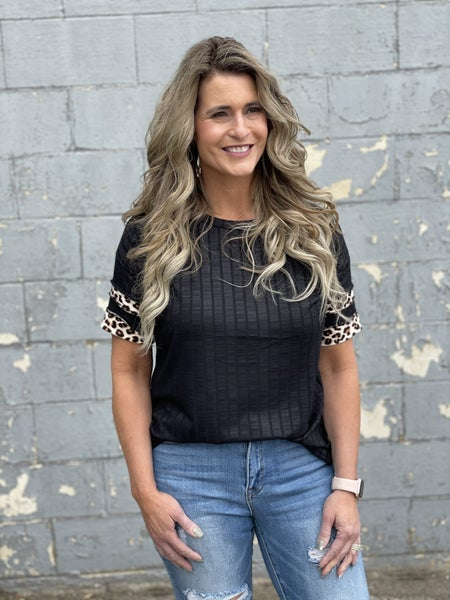 Ribbed  Animal Trimmed Top