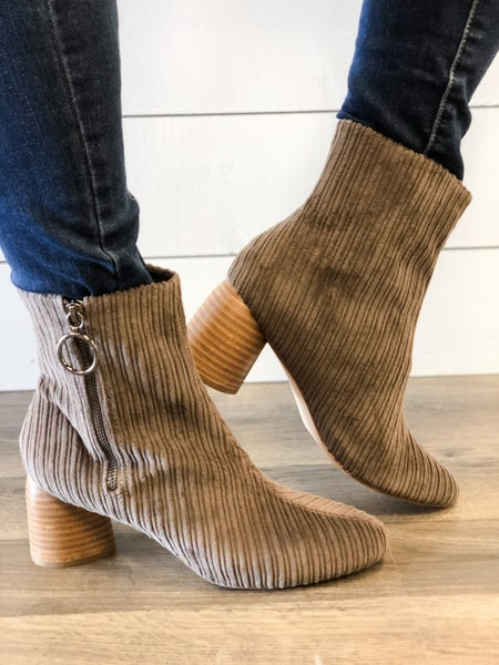 Menlee Corduroy Taupe Bootie
