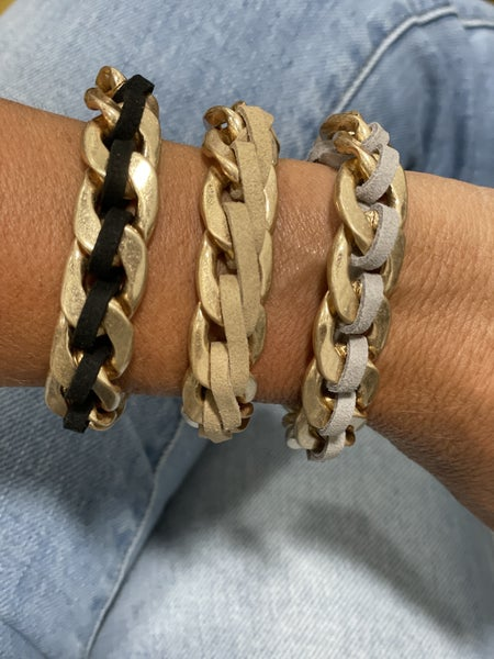 Sueded Chain Link Bracelet