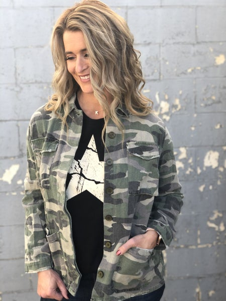 Camo Style Button Front Shirt Jacket