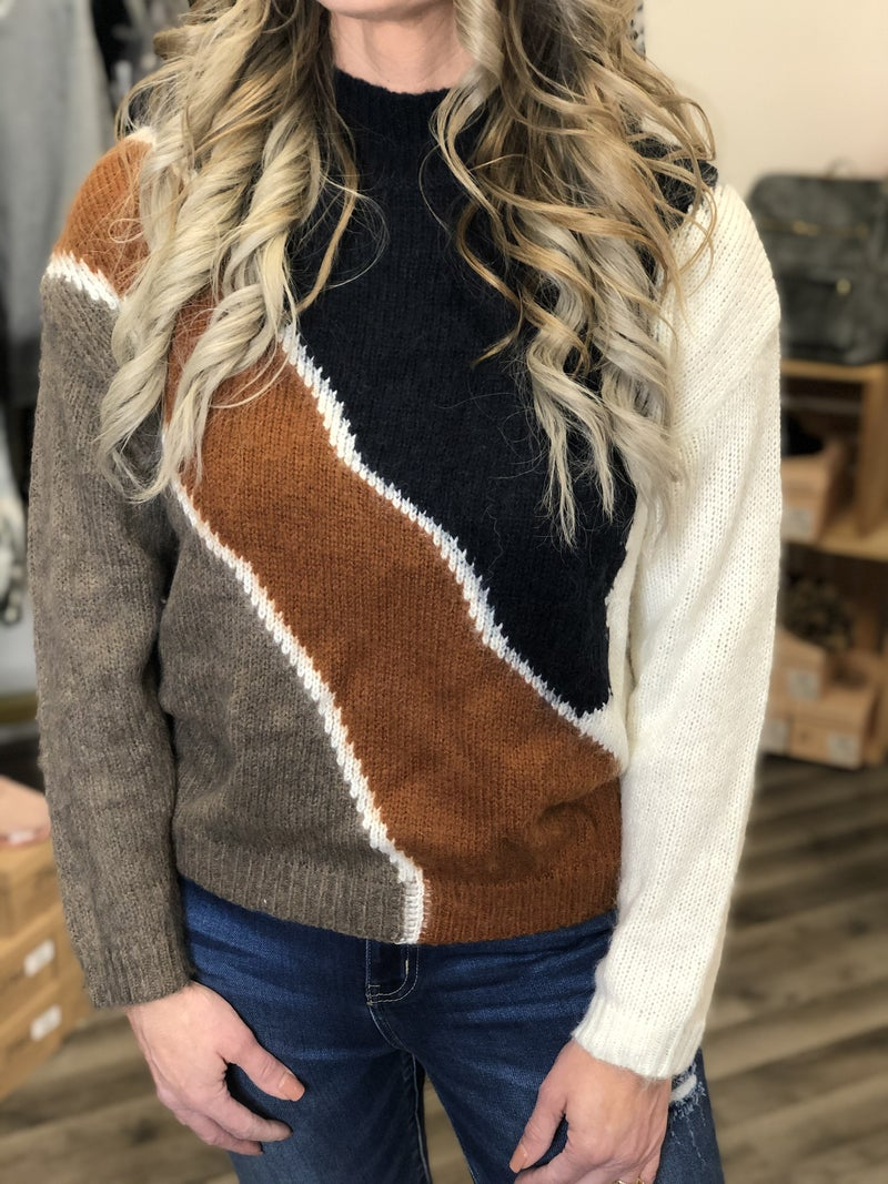 Brushed Diagonal Lines Sweater