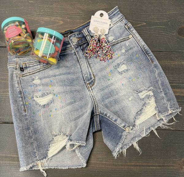 Judy Blue Paint Splatter Jean Shorts
