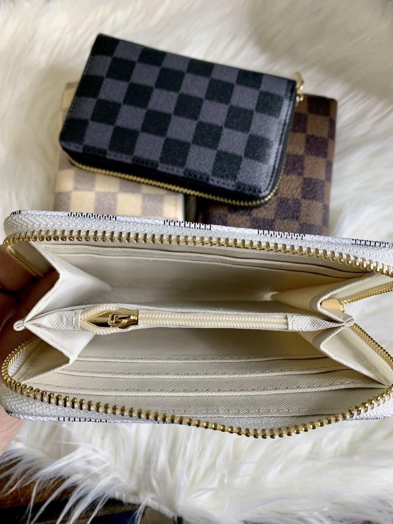 Zip Around Checkered Mini Wallet