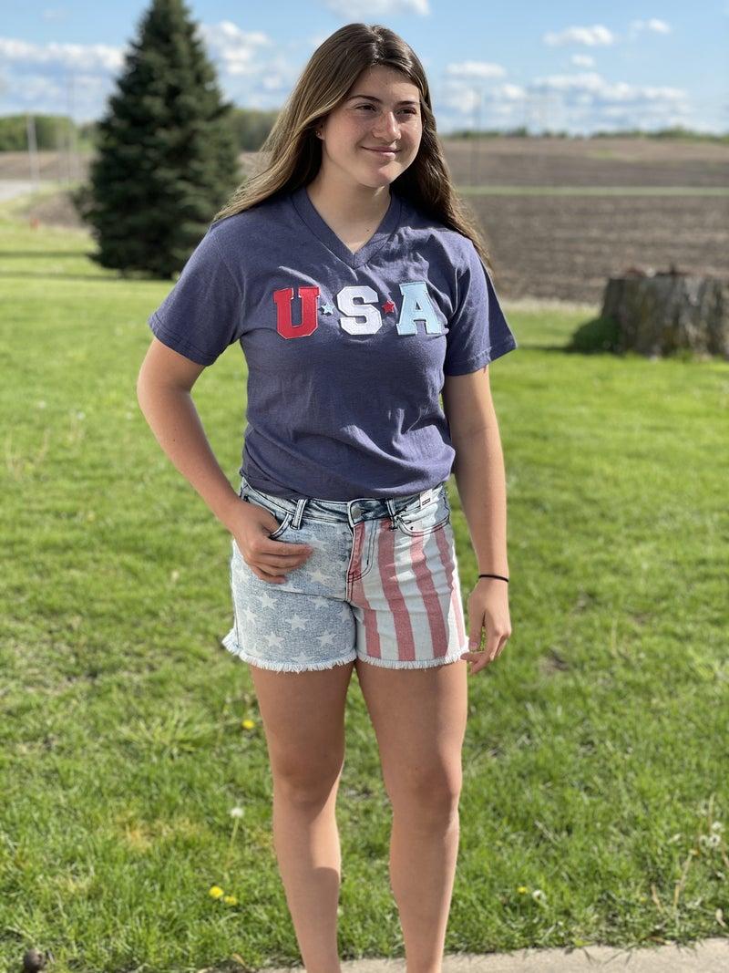 Judy Blue Mid-Rise USA Print Shorts