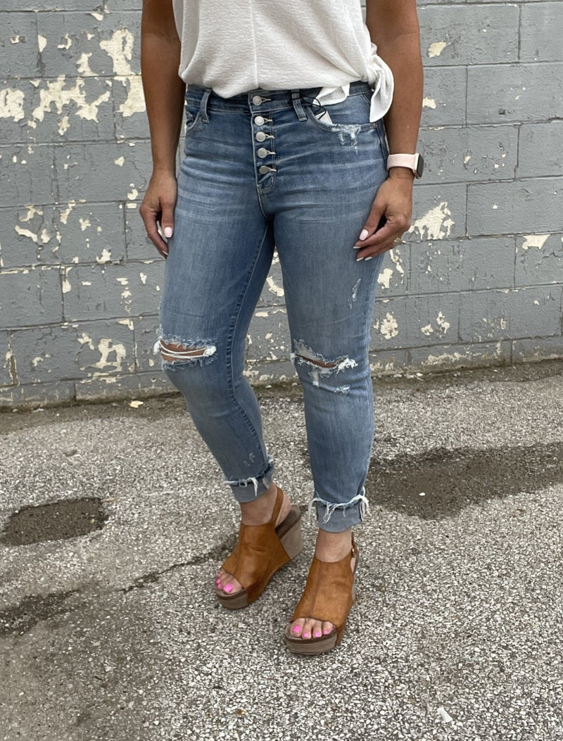 Judy Blue Emerson Boyfriend Buttonfly Jeans 38R