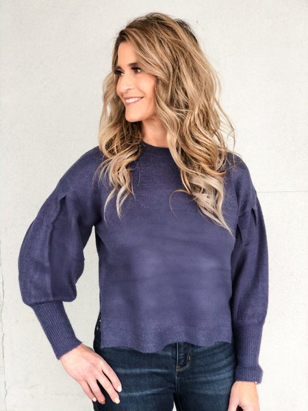Blue Snazzy Sleeve Sweater