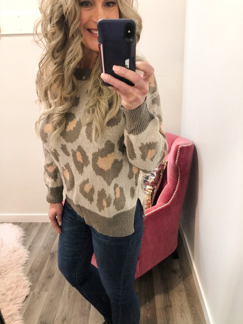 Pretty In Peachy Animal Print Sweater