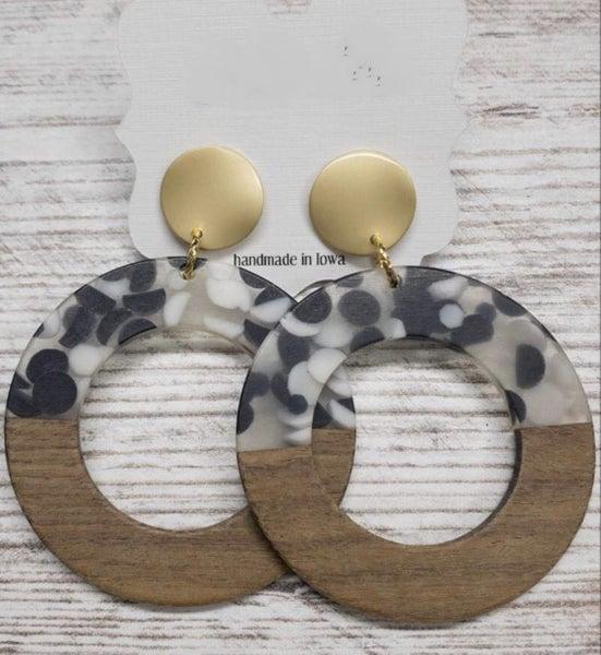 Resin & Wood Round Bubble Earrings