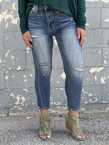 Risen Amber Vintage Dark Wash Straight Leg Jean 268