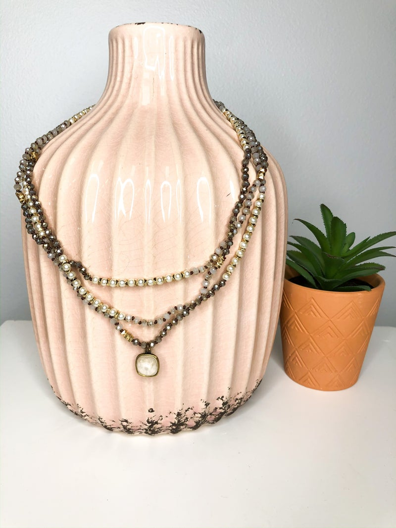 PP Long Ivory Bead Necklace