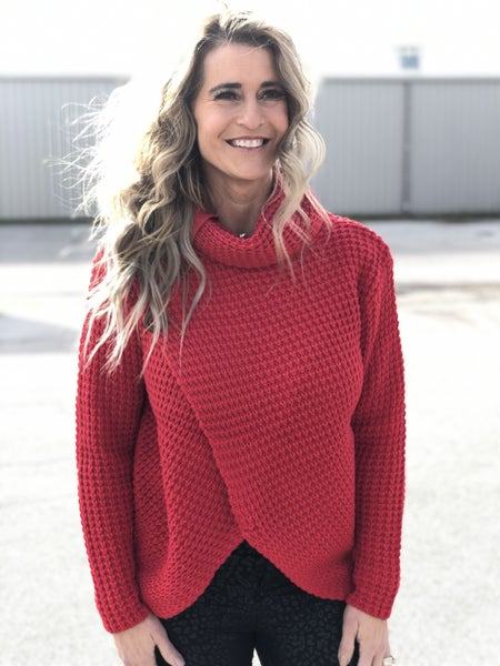 Wrapped Up Red Cowl Neck Sweater