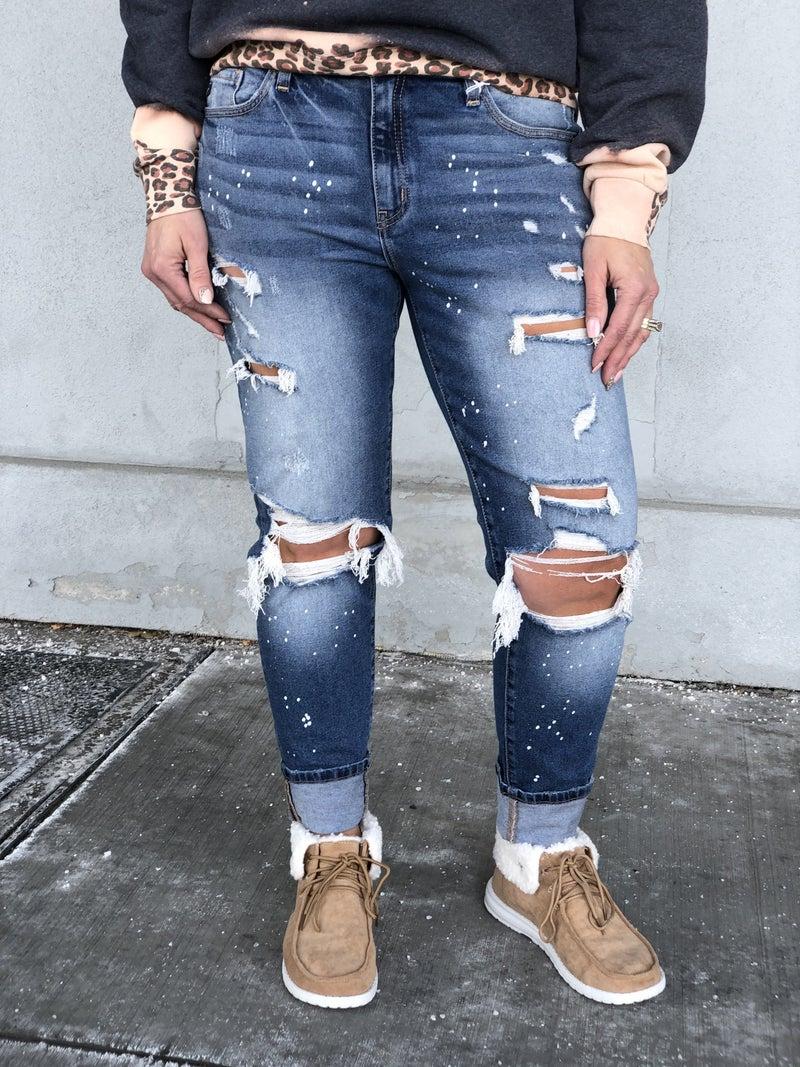 KanCan Stella Paint Splatter Distressed Jeans 68M