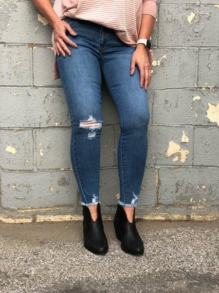 Kimmie Distress Hem Med Wash KC11TM Jeans *Final Sale*