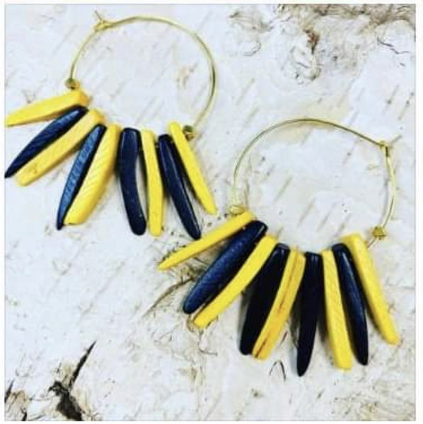 Black N Gold Stick Earrings