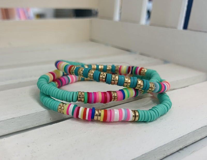 Rubber Disc & Bead Bracelet Set