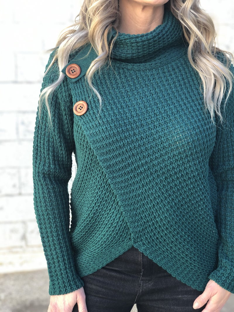 Wrapped Up Green Cowl Neck Sweater