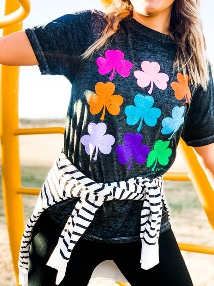 Colored Clover Lucky Tee