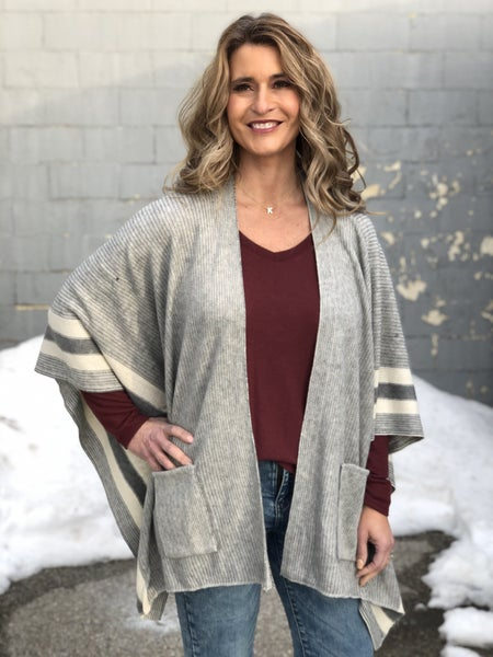 Stripe Easy Grey Poncho