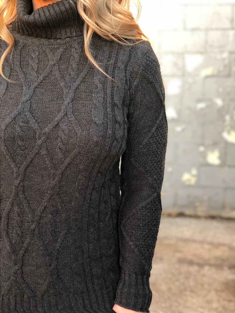 Cable Times Turtleneck Sweater *Final Sale*