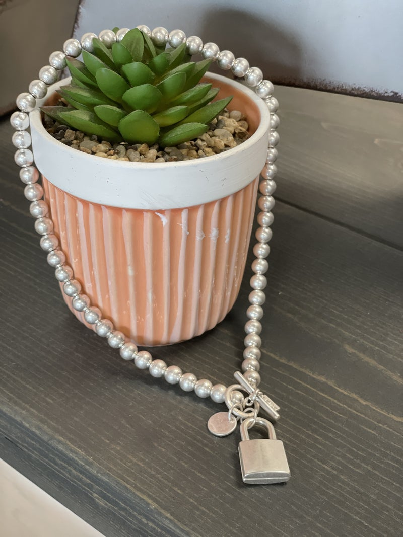 Toggle Beaded Lock Necklace