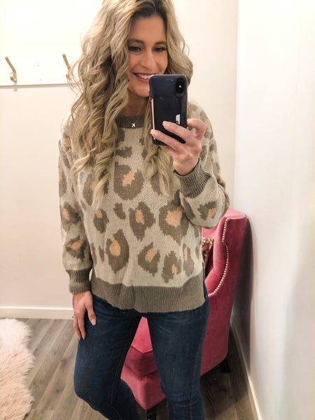 Pretty In Peachy Animal Print Sweater