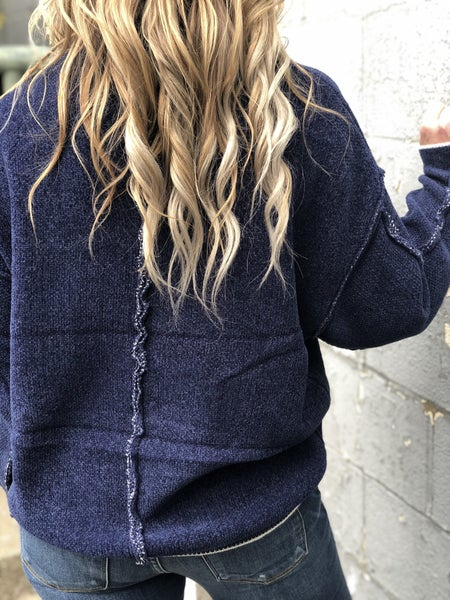 Seamed But Not Heard Navy Sweater