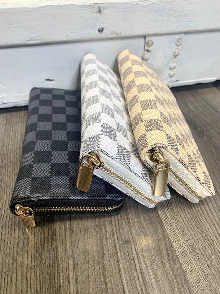 Zip Around Checkered Wallet