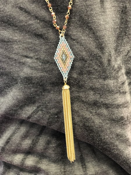 Long Beaded Triangle Necklace