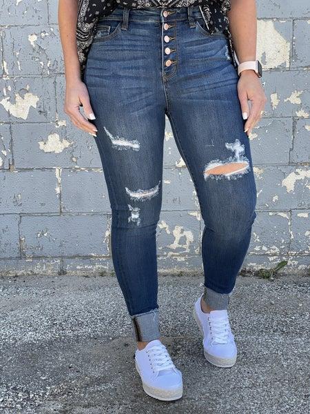 Judy Blue Carissa Hi-Rise Button Fly Cuff Jeans 46