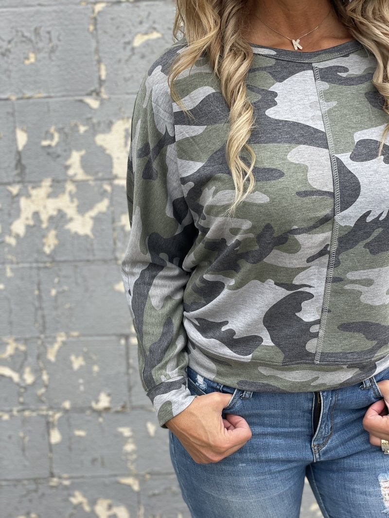 Going For It Camo Top
