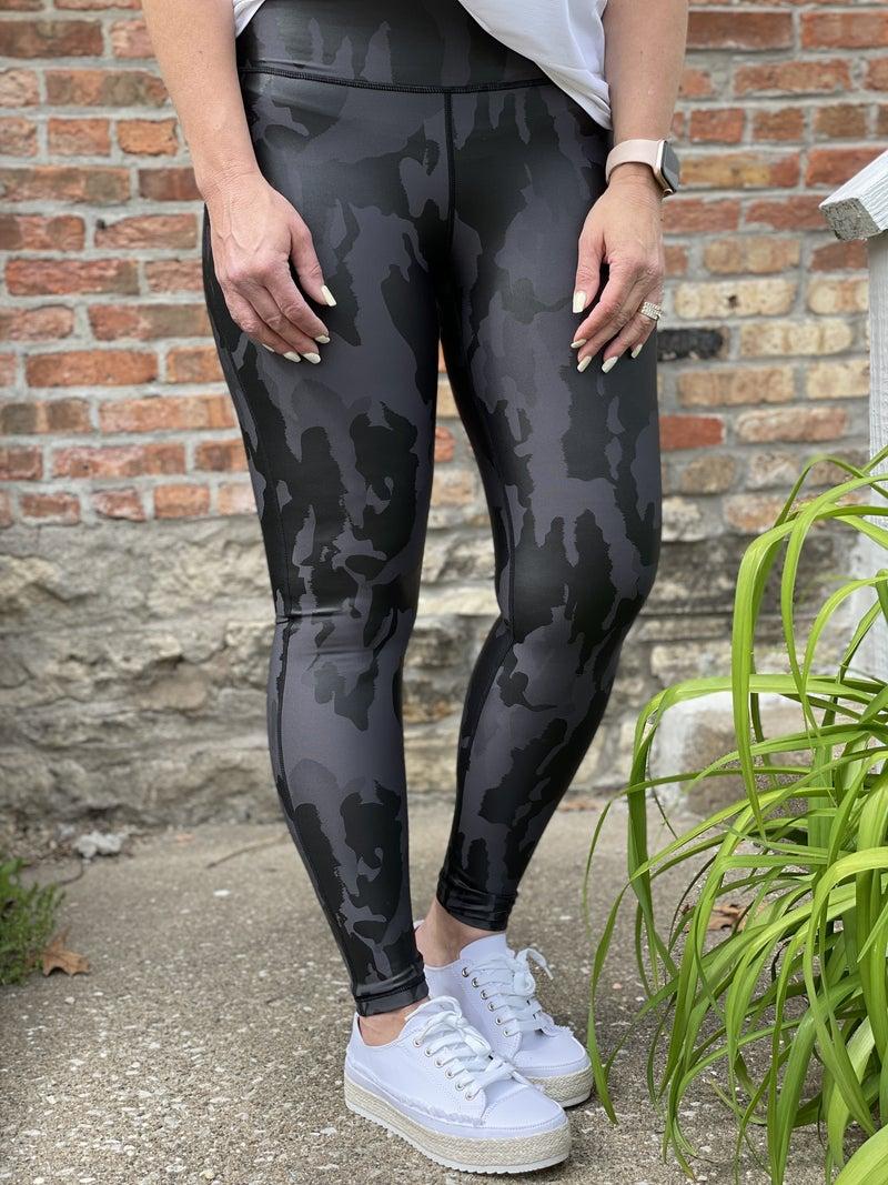 Black Fog Camo Print Leggings