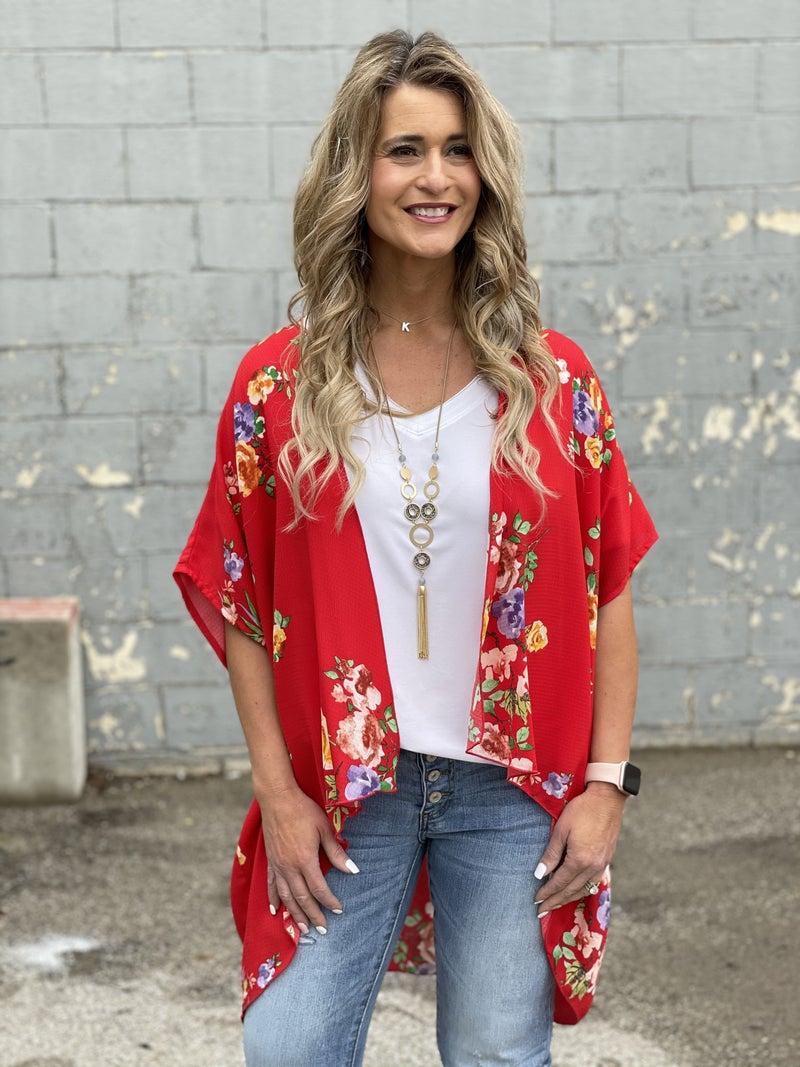 Red Paradise Kimono Cardigan