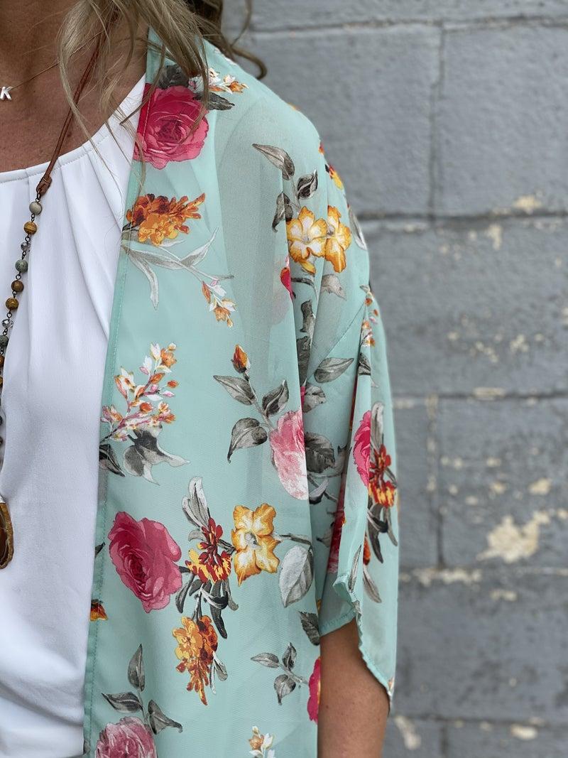 Sage Floral Palette  Kimono