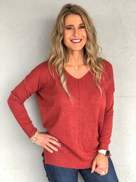 Dreamy V-Neck Heathered Rust Sweater