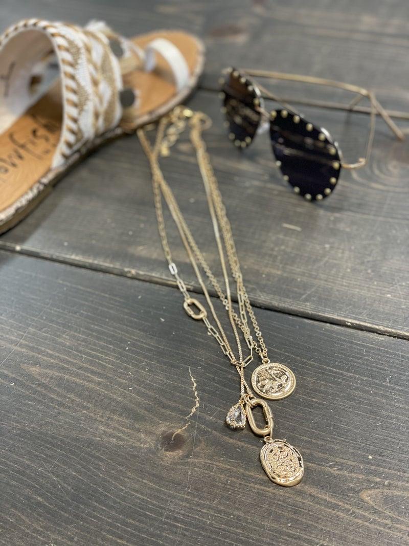 Posh Three Layered Coin Charm Necklace
