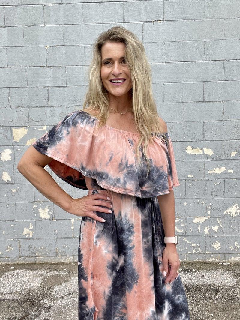 Coral Haze Tie Dye Ruffle Maxi Dress