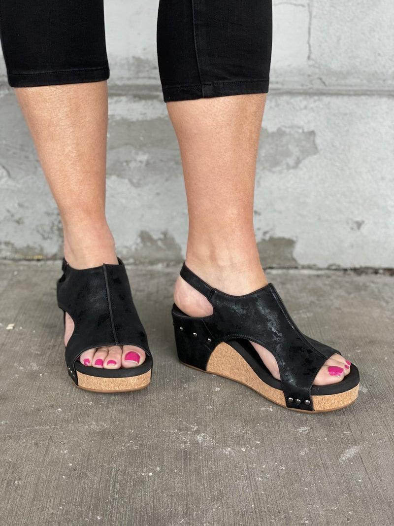 Carley Black Metallic Sandal