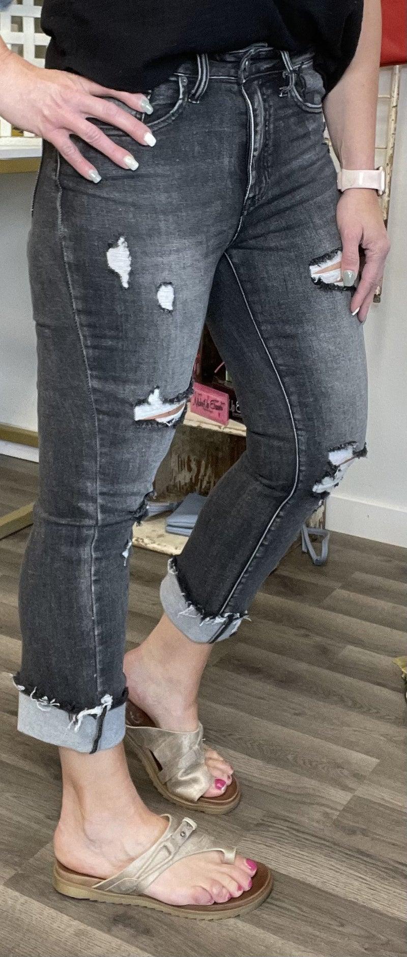 Risen Lizi Washed Black Straight Cuff Jean 260